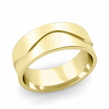 Wave Wedding Band in 18k Gold Comfort Fit Ring, Mixed Brushed Finish, 8mm