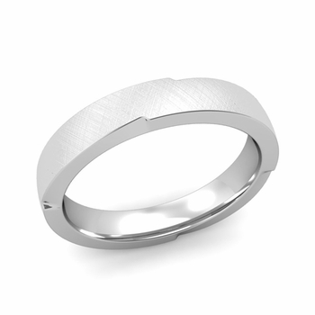 Unique Comfort Fit Wedding Band with Mixed Brushed Finish in Platinum Band, 4mm