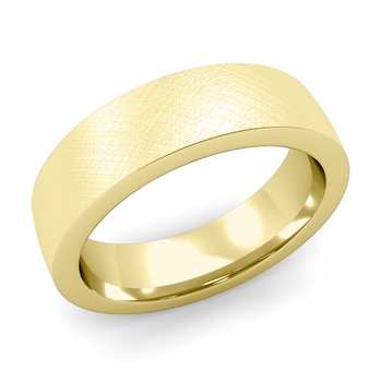 Flat Comfort Fit Wedding Band in 18k White or Yellow Gold, Mixed Brush, 6mm