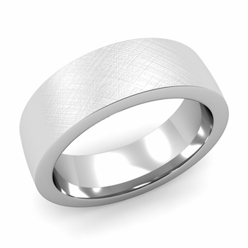 Flat Comfort Fit Wedding Band in 14k White or Yellow Gold, Mixed Brush, 7mm