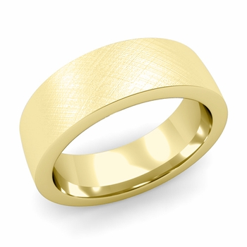Flat Comfort Fit Wedding Band in 18k White or Yellow Gold, Mixed Brush, 7mm
