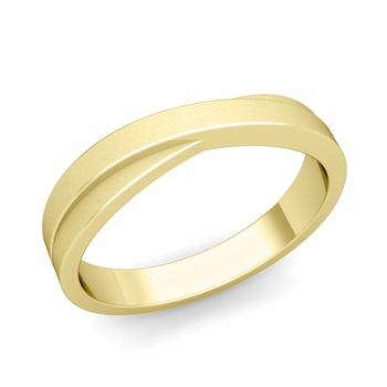 Infinity Wedding Band in 18k Gold Matte Finish Comfort Fit Ring, 4mm