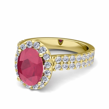 Two Row Diamond and Ruby Engagement Ring in 18k Gold, 9x7mm
