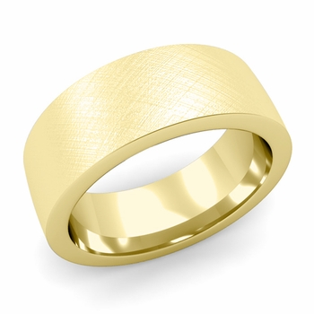Flat Comfort Fit Wedding Band in 18k White or Yellow Gold, Mixed Brush, 8mm