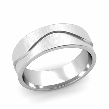 Wave Wedding Band in Platinum Comfort Fit Ring, Mixed Brushed Finish, 7mm
