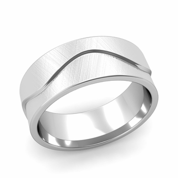 Wave Wedding Band in Platinum Comfort Fit Ring, Mixed Brushed Finish, 8mm