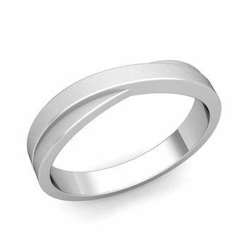Infinity Wedding Band in Platinum Matte Finish Comfort Fit Ring, 4mm