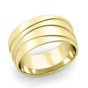 Wave Comfort Fit Wedding Ring in 18k Gold Mixed Brushed Finish Band, 10mm