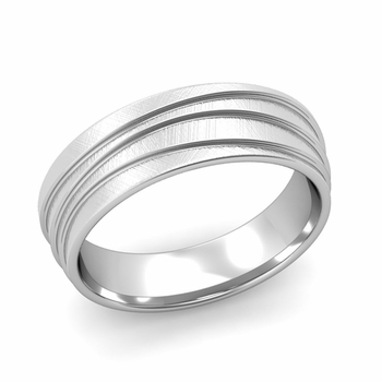 Wave Comfort Fit Wedding Ring in 14k Gold Mixed Brushed Finish Band, 6mm