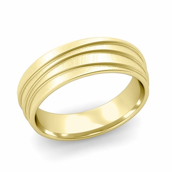 Wave Comfort Fit Wedding Ring in 18k Gold Mixed Brushed Finish Band, 6mm