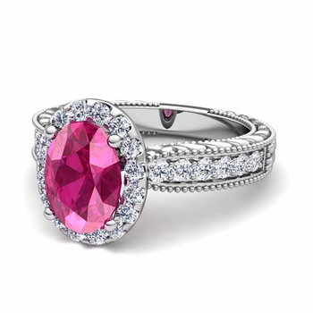Vintage Inspired Diamond and Pink Sapphire Engagement Ring in 14k Gold, 9x7mm