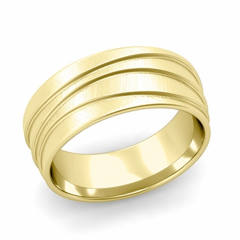Wave Comfort Fit Wedding Ring in 18k Gold Mixed Brushed Finish Band, 8mm