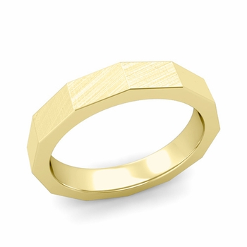 Square Comfort Fit Wedding Ring in 18k Gold Mixed Brushed Finish Band, 4mm