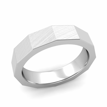 Square Comfort Fit Wedding Ring in 14k Gold Mixed Brushed Finish Band, 5mm