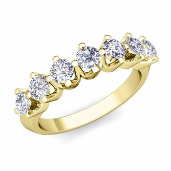 Crown Diamond Ring in 18k Gold Knife Edge Wedding Band