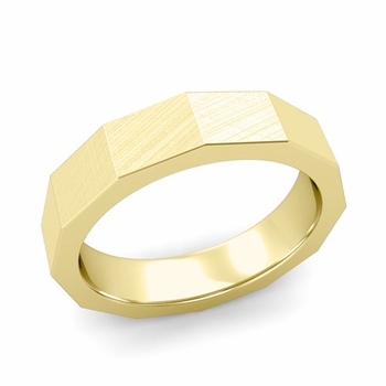 Square Comfort Fit Wedding Ring in 18k Gold Mixed Brushed Finish Band, 5mm