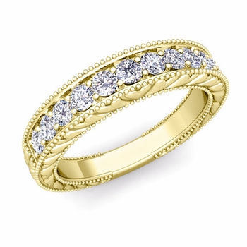 Vintage Inspired Diamond Wedding Ring Band in 18k Gold