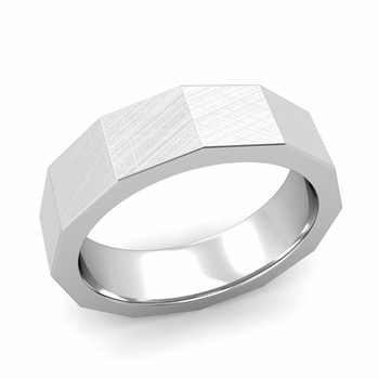 Square Comfort Fit Wedding Ring in 14k Gold Mixed Brushed Finish Band, 6mm
