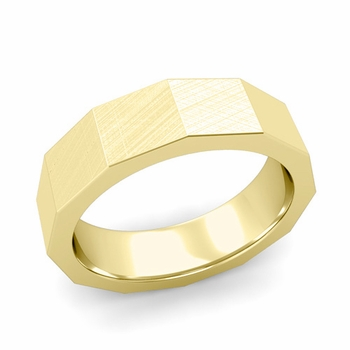 Square Comfort Fit Wedding Ring in 18k Gold Mixed Brushed Finish Band, 6mm