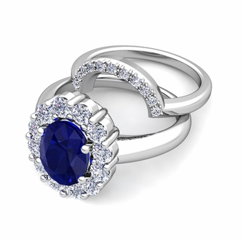 Diana Diamond and Sapphire Engagement Ring Bridal Set in Platinum, 7x5mm