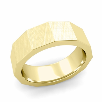 Square Comfort Fit Wedding Ring in 18k Gold Mixed Brushed Finish Band, 7mm