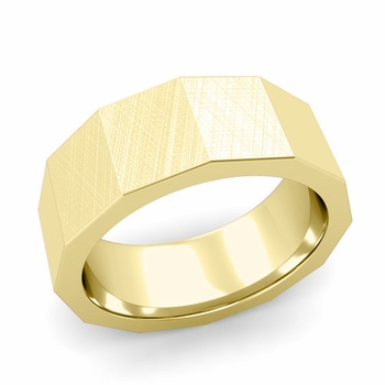 Square Comfort Fit Wedding Ring in 18k Gold Mixed Brushed Finish Band, 8mm
