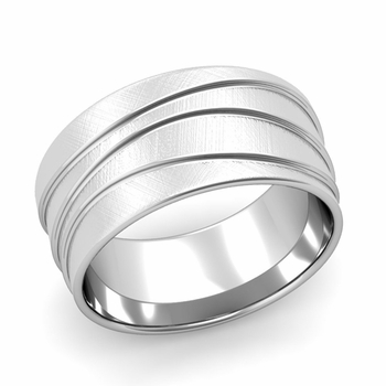 Wave Comfort Fit Wedding Ring in Platinum Mixed Brushed Finish Band, 10mm