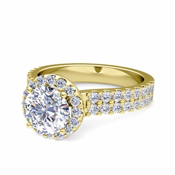 Two Row GIA Diamond Engagement Ring in 18k Gold