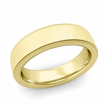 Milgrain Flat Wedding Ring in 18k Gold Comfort Fit Band, Mixed Brushed Finish, 6mm