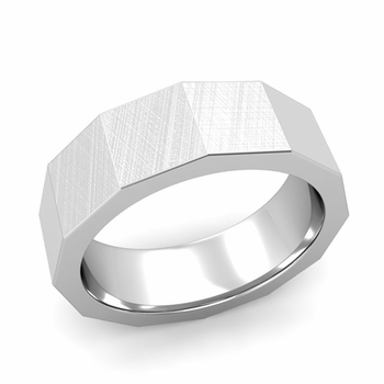 Square Comfort Fit Wedding Ring in Platinum Mixed Brushed Finish Band, 7mm