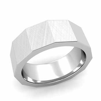 Square Comfort Fit Wedding Ring in Platinum Mixed Brushed Finish Band, 8mm