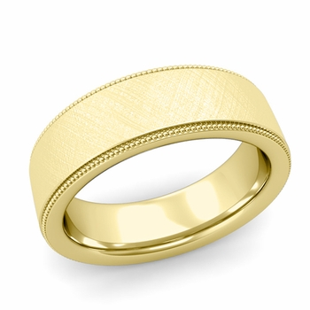Milgrain Flat Wedding Ring in 18k Gold Comfort Fit Band, Mixed Brushed Finish, 7mm