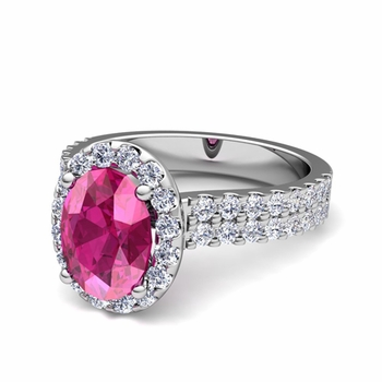 Two Row Diamond and Pink Sapphire Engagement Ring in Platinum, 8x6mm
