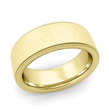 Milgrain Flat Wedding Ring in 18k Gold Comfort Fit Band, Mixed Brushed Finish, 8mm