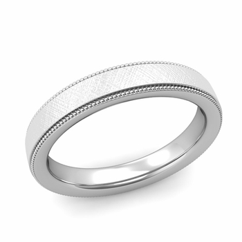 Milgrain Flat Wedding Ring in Platinum Comfort Fit Band, Mixed Brushed Finish, 4mm