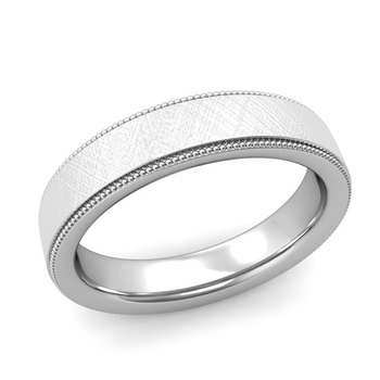Milgrain Flat Wedding Ring in Platinum Comfort Fit Band, Mixed Brushed Finish, 5mm