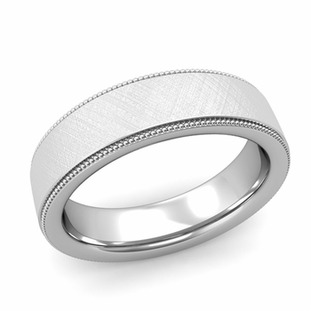 Milgrain Flat Wedding Ring in Platinum Comfort Fit Band, Mixed Brushed Finish, 6mm