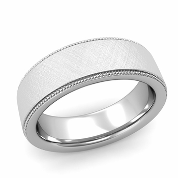 Milgrain Flat Wedding Ring in Platinum Comfort Fit Band, Mixed Brushed Finish, 7mm
