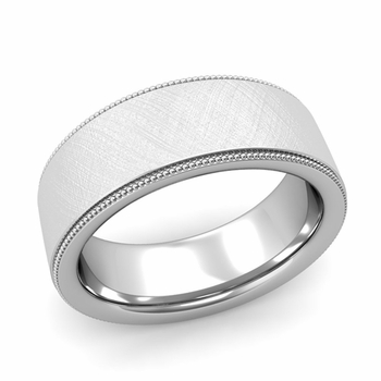 Milgrain Flat Wedding Ring in Platinum Comfort Fit Band, Mixed Brushed Finish, 8mm