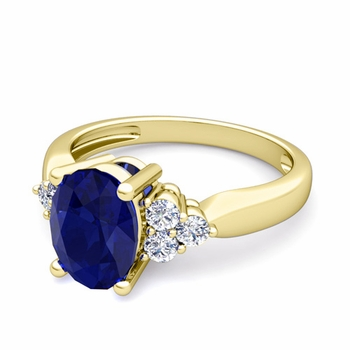 Three Stone Diamond and Blue Sapphire Engagement Ring in 18k Gold, 9x7mm