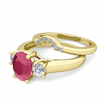 Classic Diamond and Ruby Three Stone Ring Bridal Set in 18k Gold, 7x5mm