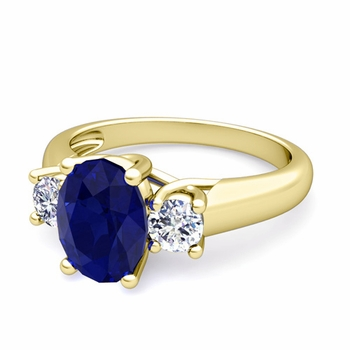 Classic Diamond and Blue Sapphire Three Stone Ring in 18k Gold, 8x6mm
