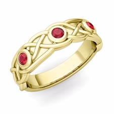 Celtic Knot Ruby Wedding Ring Band in 18k Gold, 5mm