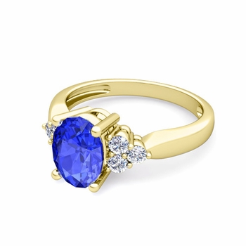 Three Stone Diamond and Ceylon Sapphire Engagement Ring in 18k Gold, 8x6mm