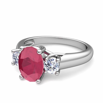 Classic Diamond and Ruby Three Stone Ring in Platinum, 7x5mm