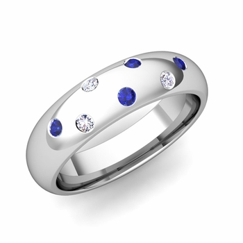 Comfort Fit Scattered Sapphire and Diamond Wedding Band in 14k Gold, 5mm