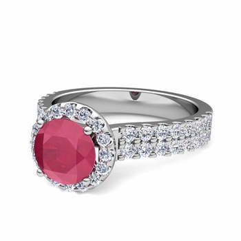 Two Row Diamond and Ruby Engagement Ring in Platinum, 6mm