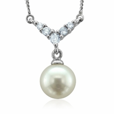 Diamond and Pearl Necklace with 14k White Gold Chain