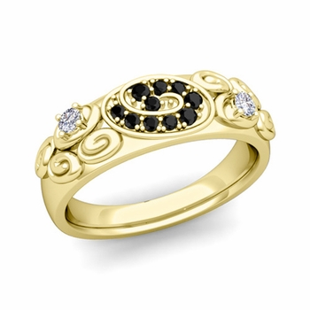 Swirl Black and White Diamond Wedding Ring Band in 18k Gold, 5.5mm
