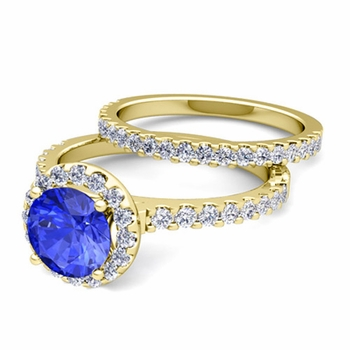 Bridal Set: Pave Diamond and Ceylon Sapphire Engagement Wedding Ring in 18k Gold, 7mm